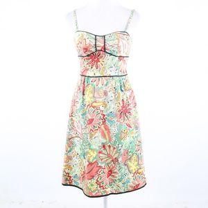 Anthropologie multicolor floral print sun dress 4